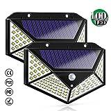 Bicolor Solarleuchten für Außen,100 LED Solarlampen für Außen mit Bewegungsmelder Solar Wasserdichte Wandleuchte für Garten,Balkon,Deck, Hof, 2 Stück
