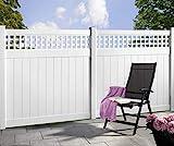 Longlife Sichtschutz Zaun Kunststoff weiß 170x170cm mit Rankgitter aus extrem witterungsbeständigem Fensterkunststoff (kein WPC) (1 Zaun + 2 Pfosten = 190cm Zaunlänge)
