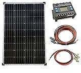solartronics Komplettset 1x100 Watt Monokristallin 5-Busbars 20A Laderegler 12V / 24V Kabel Photovoltaik