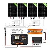 ECO-WORTHY 480W Off Grid Solarmodul Kit: 3000W 12V Wechselrichter + 4 PCS 120W Solarpanel + 30A Batterieladeregler für Home Boot RV
