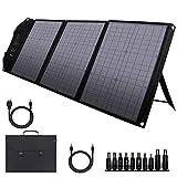 powkey 60W 12-18V Tragbares Solar Ladegerät, Solarladegerät mit USB C, 2 * QC3.0, DC Ausgang, Faltbares Monokristallines Solarpanel für die meisten Power Station, Camping, Mobiltelefone und Laptops