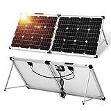 DOKIO Klappbares Solarpanel 100w mit Solar-Laderegler (PWM-Lademodus, 2 USB-Ports) für 12V-Akkus, Inklusive Transporttasche Camping Solar, Geeignet für Wohnmobile, Boot