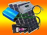 300 Watt Insel Solaranlage für Garten uvm. Komplettes Komfort SET inklusive Montagematerial für Flachdach von bau-tech Solarenergie