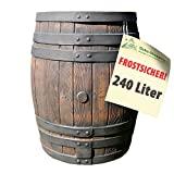 REGENTONNE EICHENFASS SET 240l Liter, das REGENFASS mit fühlbarer Holzstruktur, in sehr schönem HOLZ-DESIGN, mit Maserung wie ein HOLZFASS, dauerhaftdicht und splitterfrei!