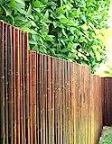 DE-COmmerce Robuster Bambus Holz Sicht Schutz Zaun ATY NIGRA hochwertiger Windschutz Terrasse, Balkon, Garten Bambusrohr Zaun mit geschlossenen Rohren (HxB) 180 cm x 180 cm