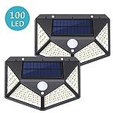 Solarlampen für Außen,SUNZOS 100LED Solarlampen für Außen mit Bewegungsmelder 270° Beleuchtungswinkel 1800mAh Wasserdichte 3 Modi Solarleuchten für Garten, Balkon, Treppen, Außenwände (2 Stück)