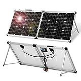 DOKIO Klappbares Solarpanel 100W 18V mit Solar-Laderegler (PWM-Lademodus, 2 USB-Ports) für 12V-Akkus, Inklusive Transporttasche Camping Solar, Geeignet für Wohnmobile, Boot