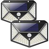 Solarlampen für Außen,【270 ° Vierseitige Beleuchtung- 2200mAh】iPosible 100 LED Solarleuchte mit Bewegungsmelder Solar Wasserdichte Wandleuchte Solar Aussenleuchte Solarlicht für Garten, Hof -【2 Stück】