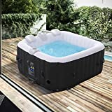 Arebos Whirlpool Florence | aufblasbar | In- & Outdoor | 4 Personen | 100 Massagedüsen | mit Heizung | 600 Liter | Inkl. Abdeckung | Bubble Spa & Wellness Massage