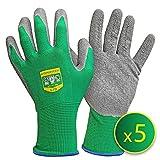 GRÜNTEK Gartenhandschuhe 5 Paar Pflanzenhandschuhe aus Polyesterfaser mit Latexbeschichtung, geeignet für den privaten und gewerblichen Gebrauch (L/9)