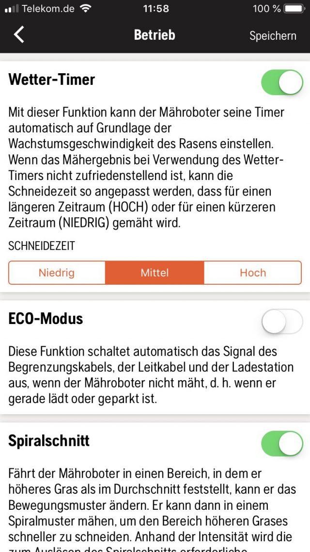 Einstellen des Wetter-Timer über die Automower Connect iOS-App